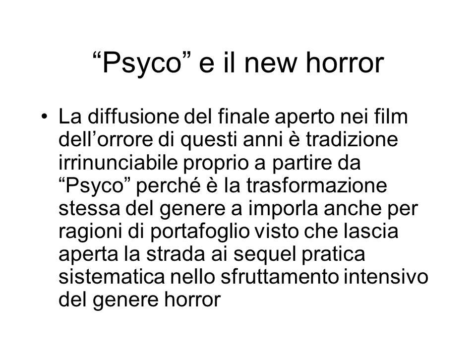 Psyco e il new horror
