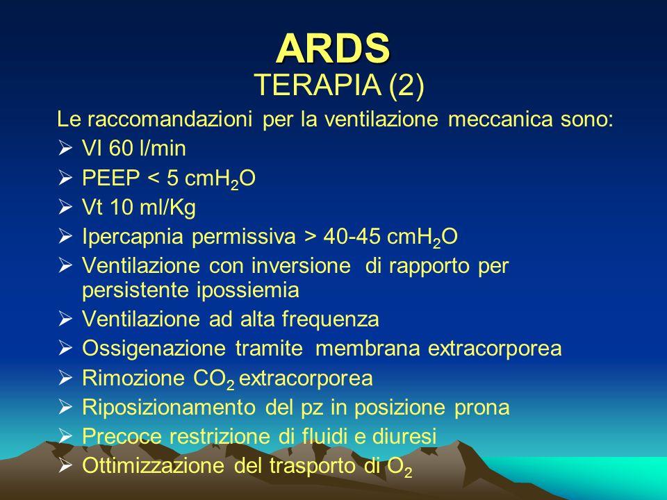 ARDS TERAPIA (2) Le raccomandazioni per la ventilazione meccanica sono: VI 60 l/min. PEEP < 5 cmH2O.