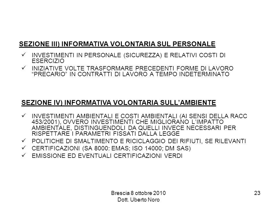 Brescia 8 ottobre 2010 Dott. Uberto Noro