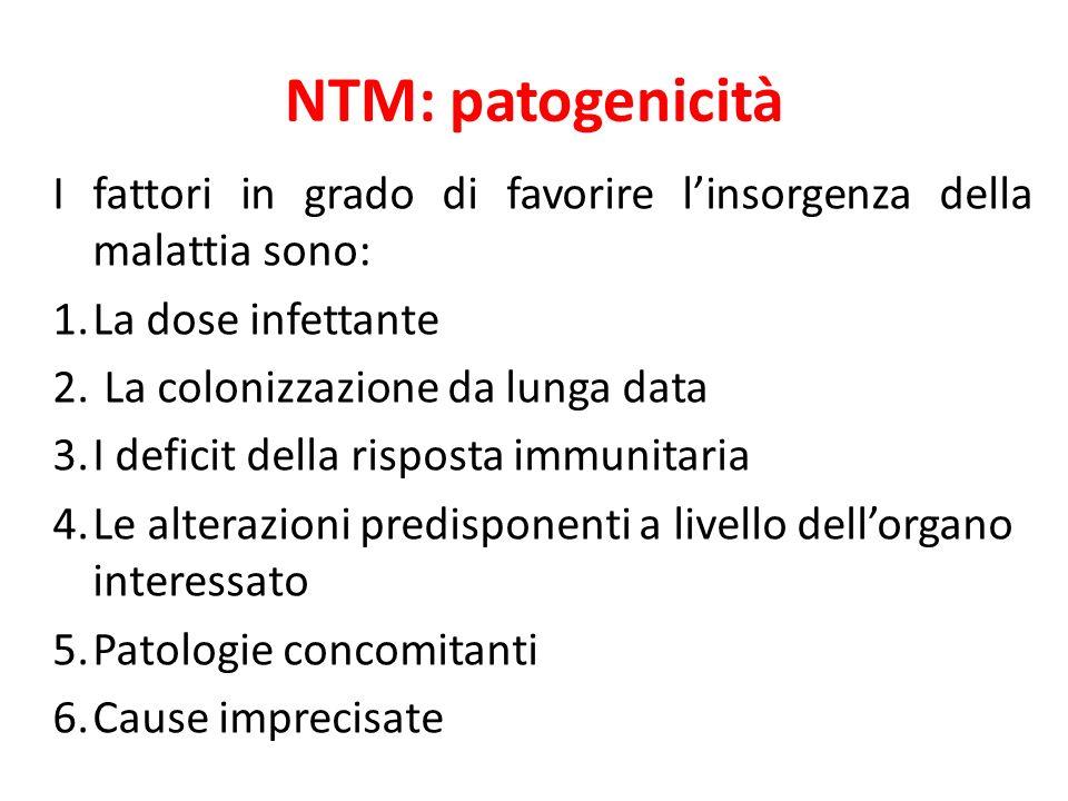 NTM: patogenicità I fattori in grado di favorire l'insorgenza della malattia sono: La dose infettante.