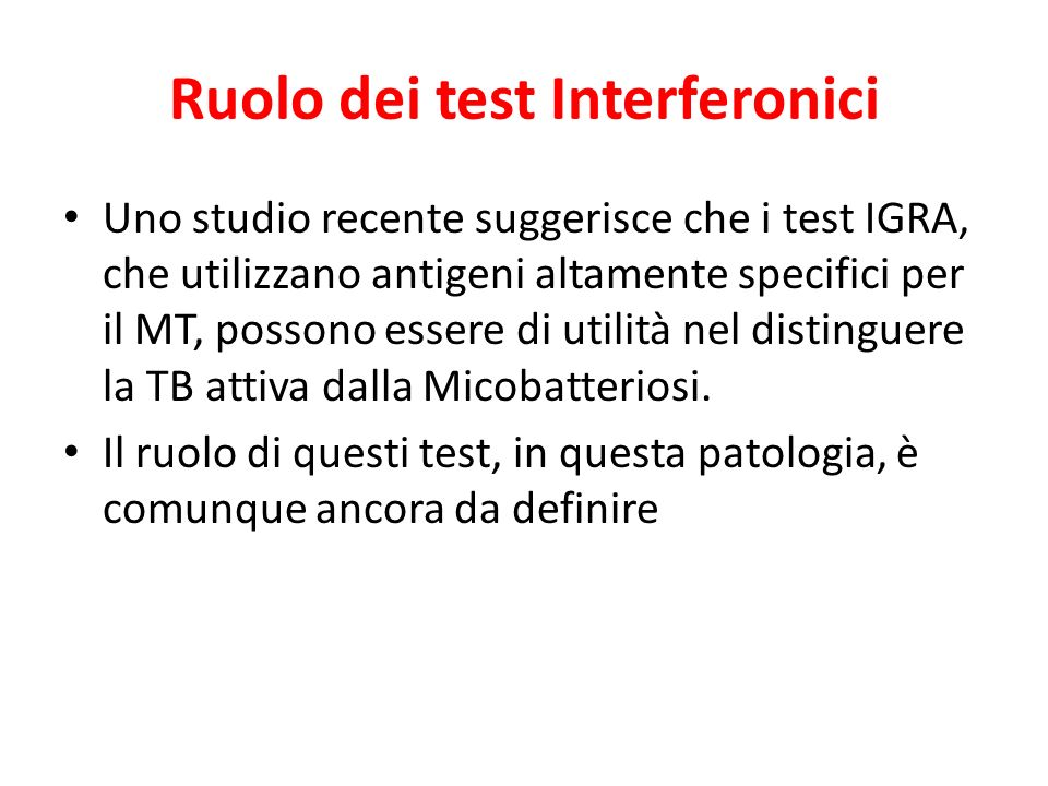 Ruolo dei test Interferonici