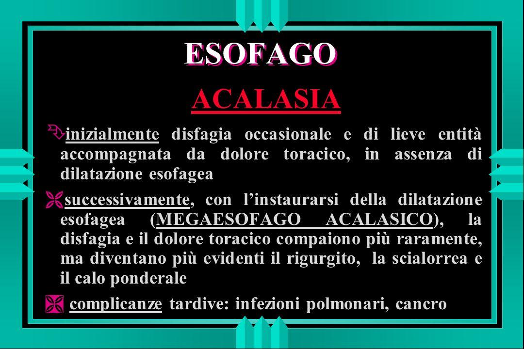 ESOFAGO ACALASIA. inizialmente disfagia occasionale e di lieve entità accompagnata da dolore toracico, in assenza di dilatazione esofagea.