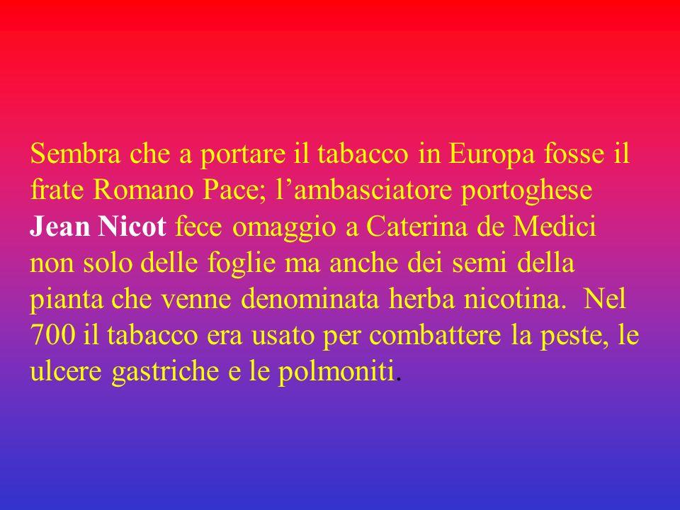 Sembra che a portare il tabacco in Europa fosse il frate Romano Pace; l'ambasciatore portoghese Jean Nicot fece omaggio a Caterina de Medici non solo delle foglie ma anche dei semi della pianta che venne denominata herba nicotina.
