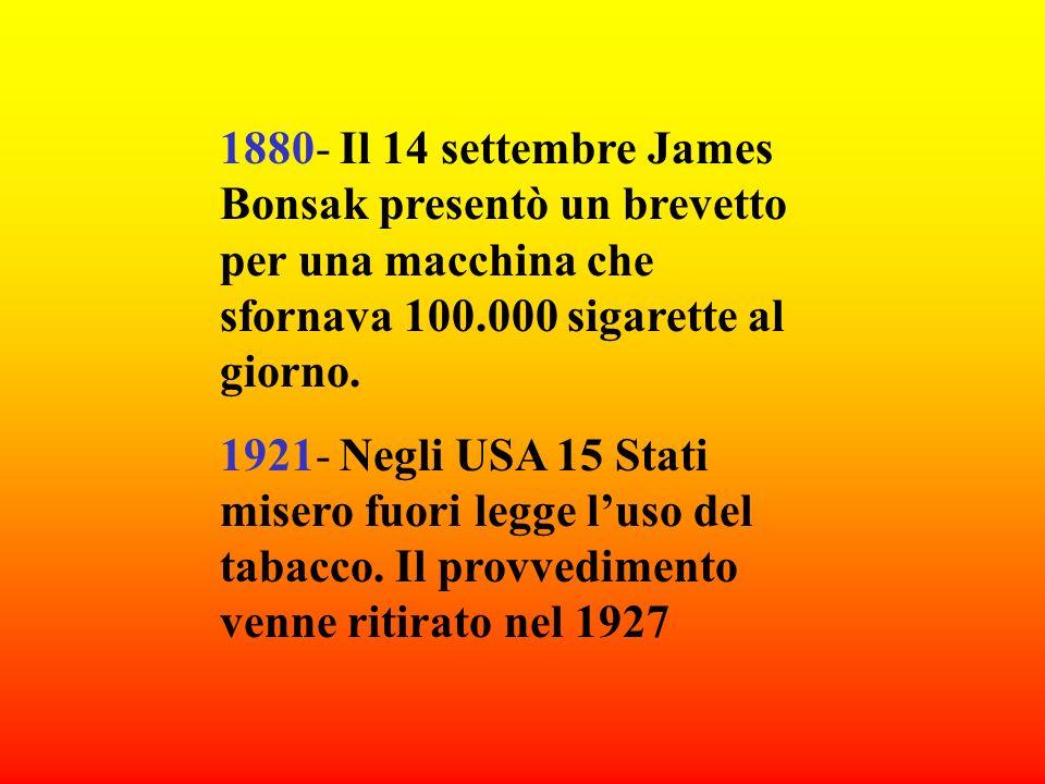 1880- Il 14 settembre James Bonsak presentò un brevetto per una macchina che sfornava 100.000 sigarette al giorno.