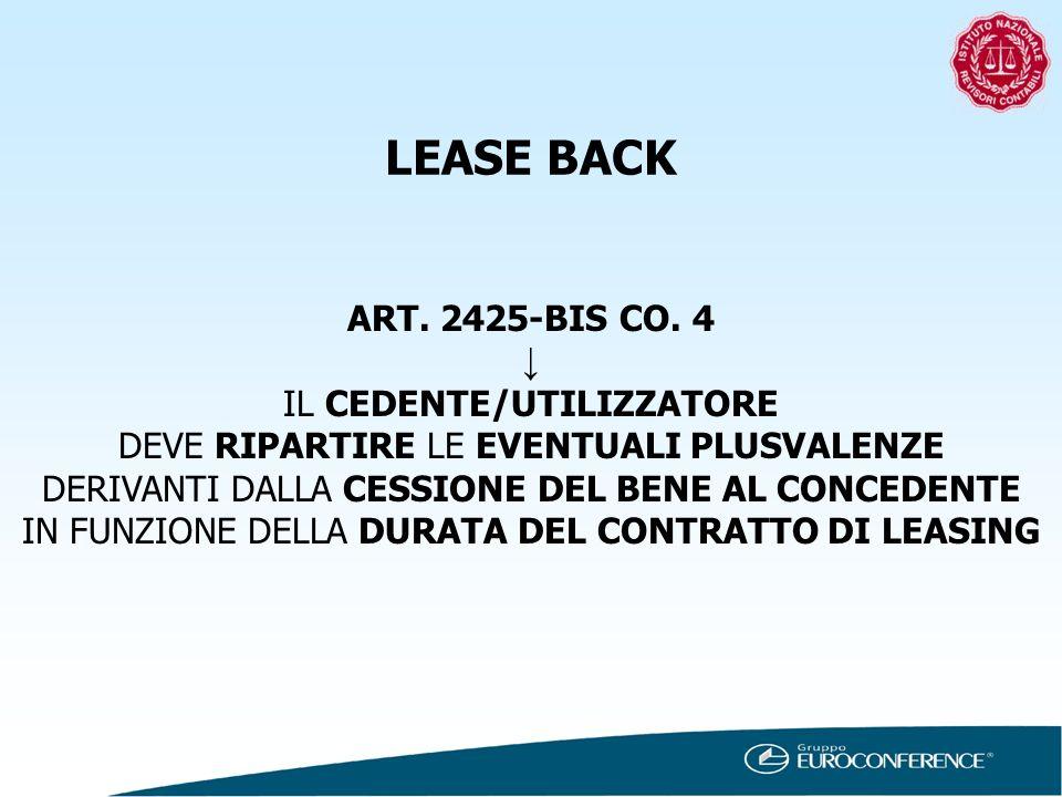 LEASE BACK ART. 2425-BIS CO. 4 ↓ IL CEDENTE/UTILIZZATORE
