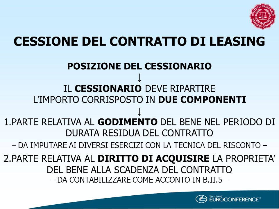 CESSIONE DEL CONTRATTO DI LEASING