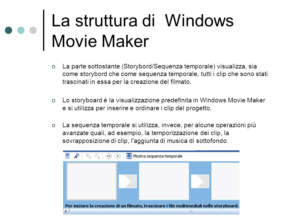 La struttura di Windows Movie Maker