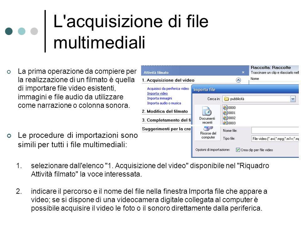 L acquisizione di file multimediali
