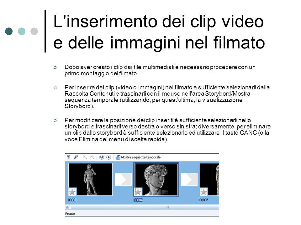 L inserimento dei clip video e delle immagini nel filmato