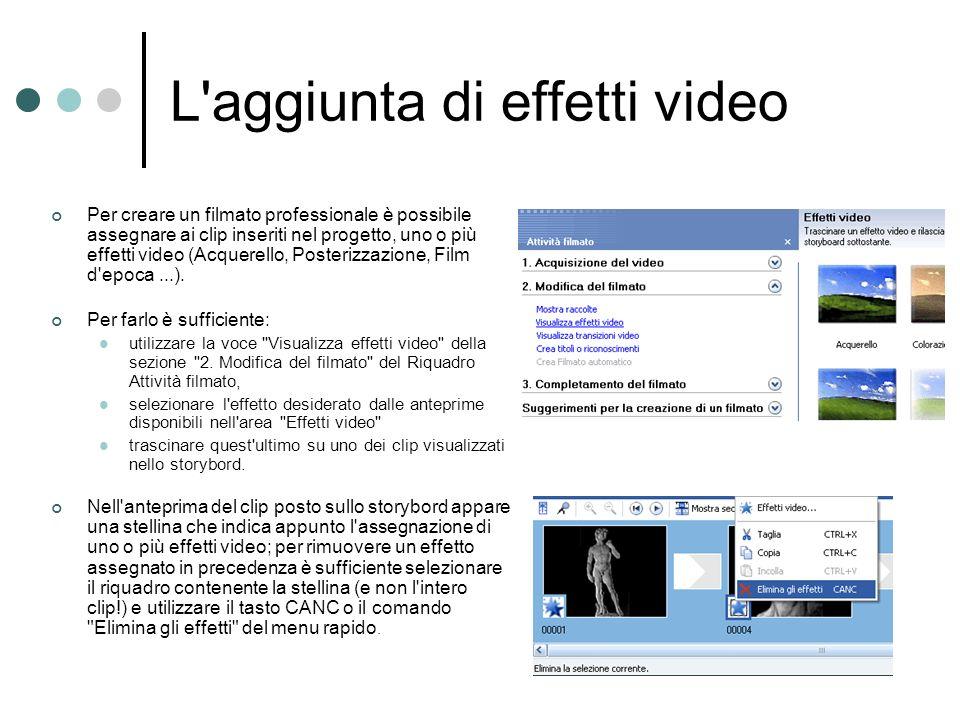 L aggiunta di effetti video