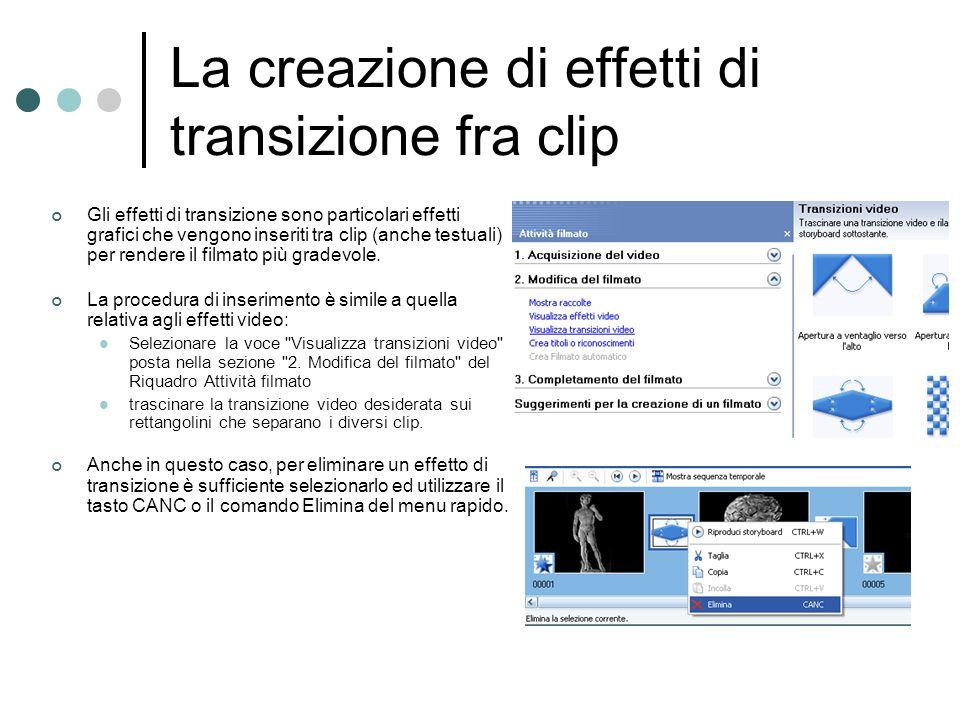 La creazione di effetti di transizione fra clip