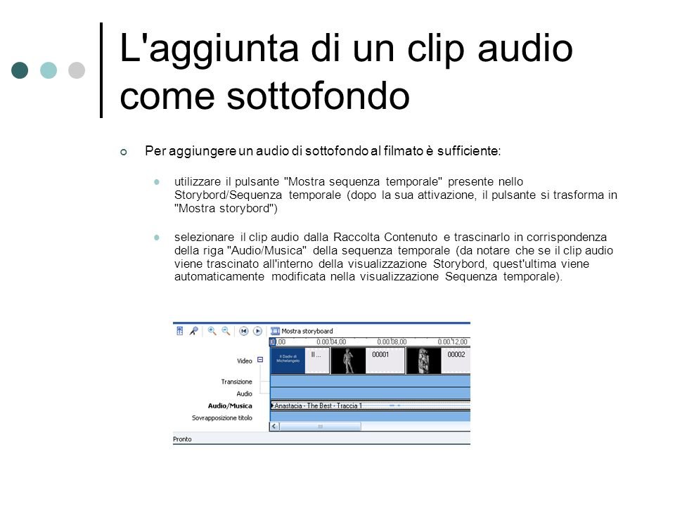 L aggiunta di un clip audio come sottofondo