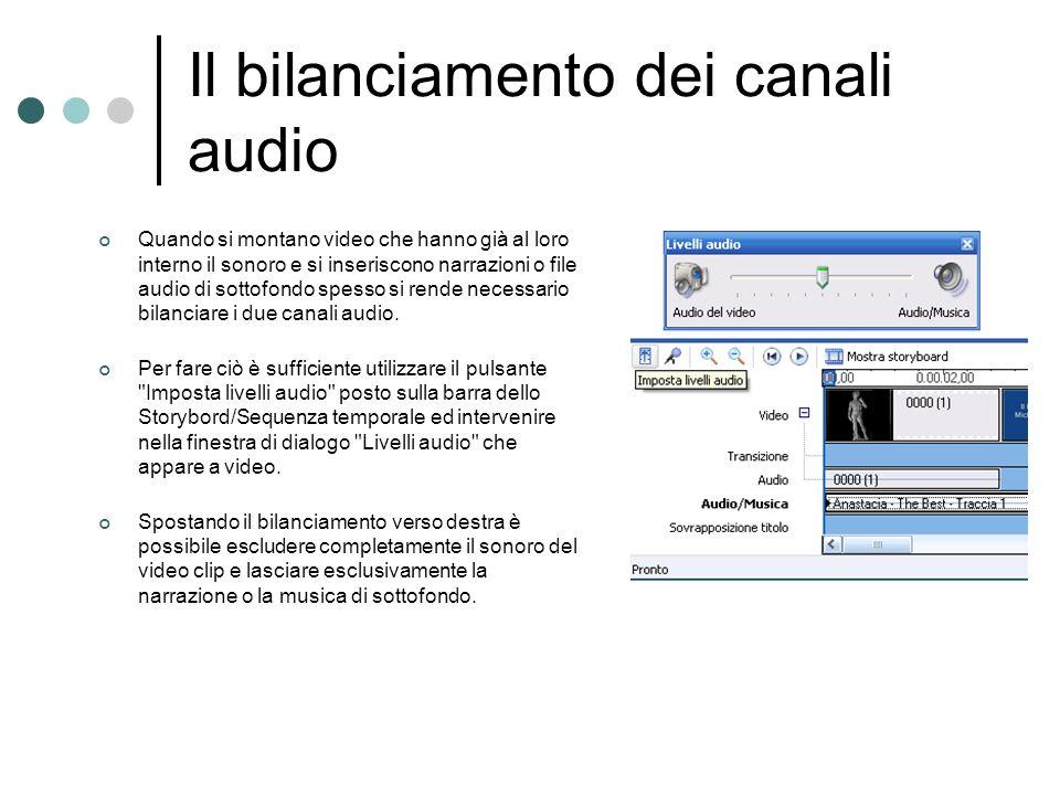Il bilanciamento dei canali audio