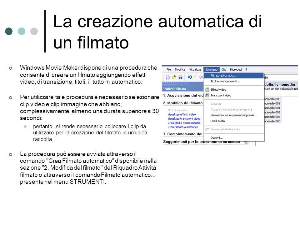 La creazione automatica di un filmato