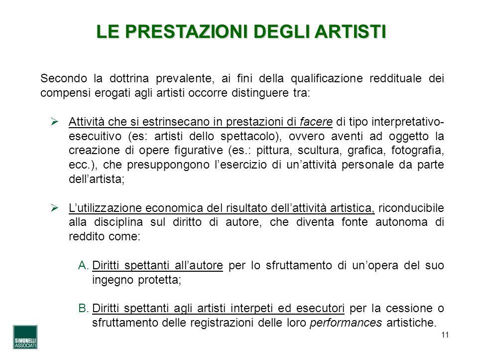 LE PRESTAZIONI DEGLI ARTISTI