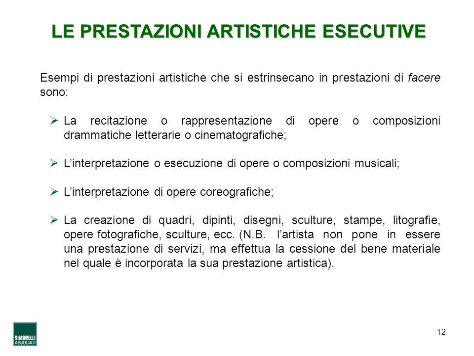 LE PRESTAZIONI ARTISTICHE ESECUTIVE