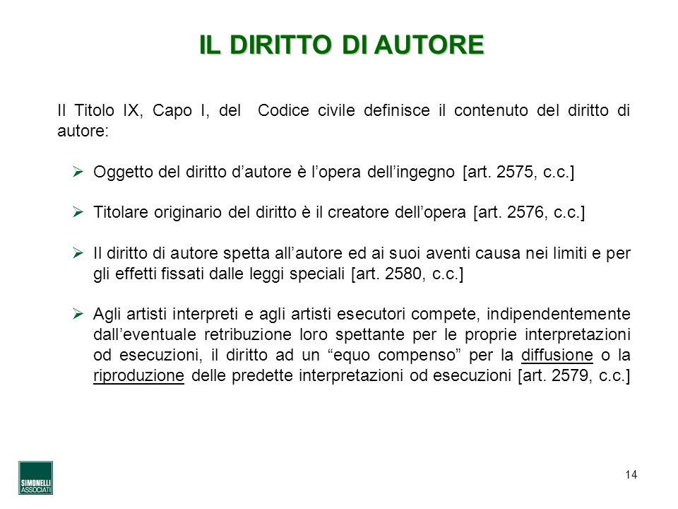 IL DIRITTO DI AUTORE Il Titolo IX, Capo I, del Codice civile definisce il contenuto del diritto di autore: