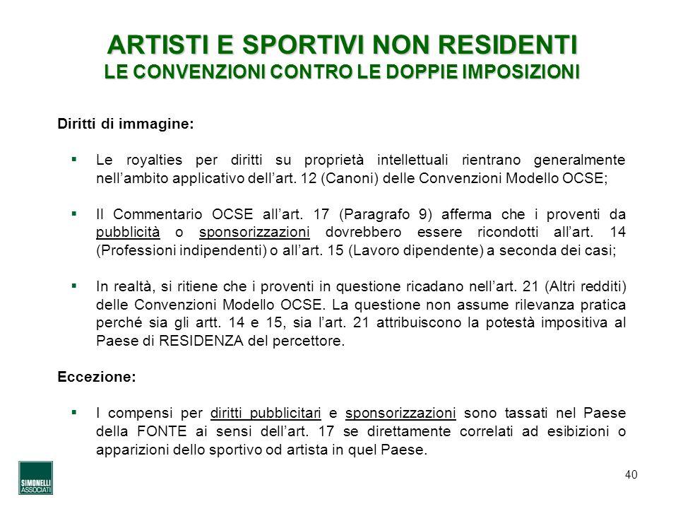 ARTISTI E SPORTIVI NON RESIDENTI