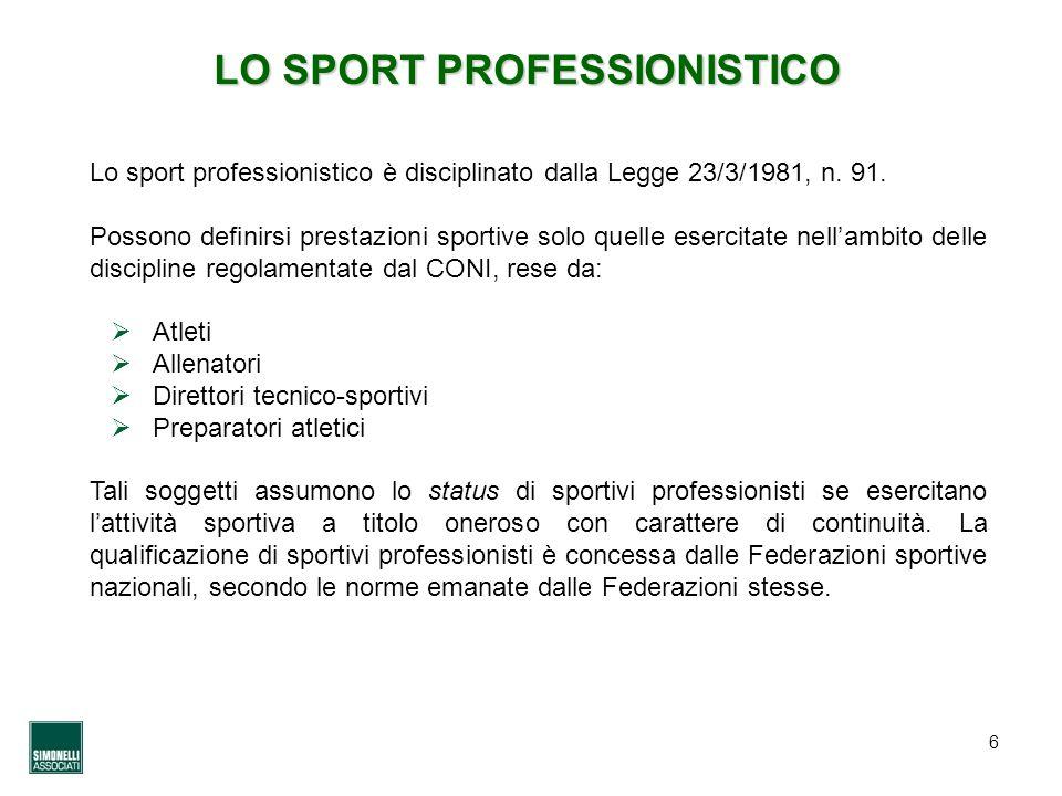 LO SPORT PROFESSIONISTICO