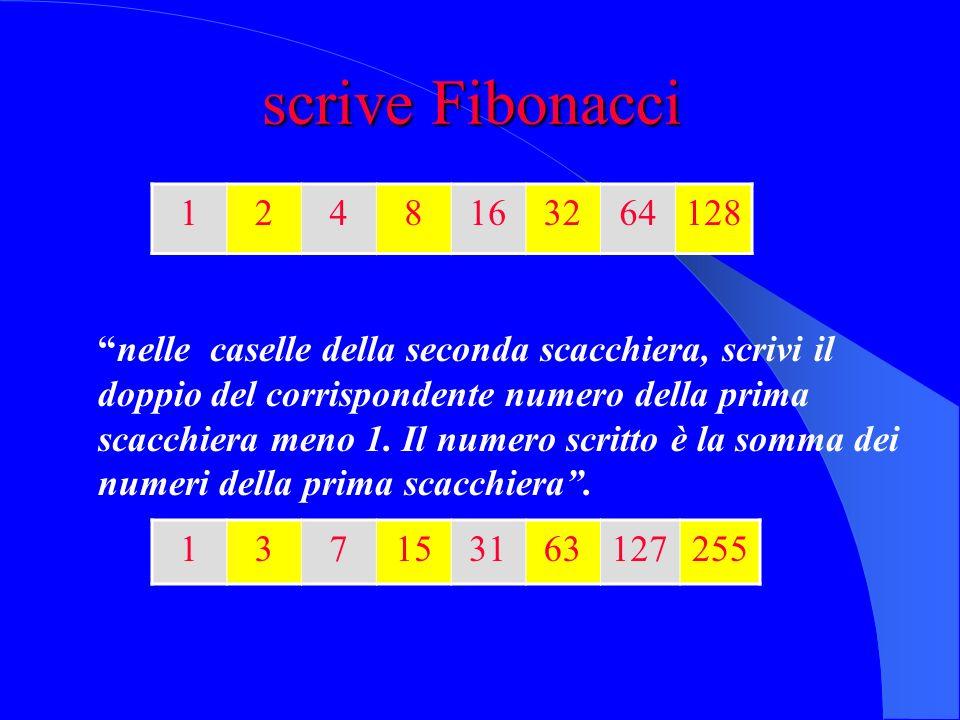 scrive Fibonacci 1. 2. 4. 8. 16. 32. 64. 128.