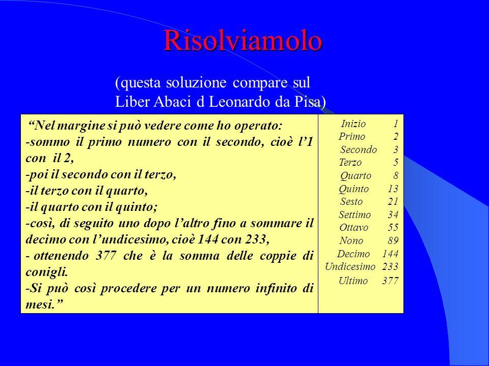 Risolviamolo (questa soluzione compare sul Liber Abaci d Leonardo da Pisa) Nel margine si può vedere come ho operato:
