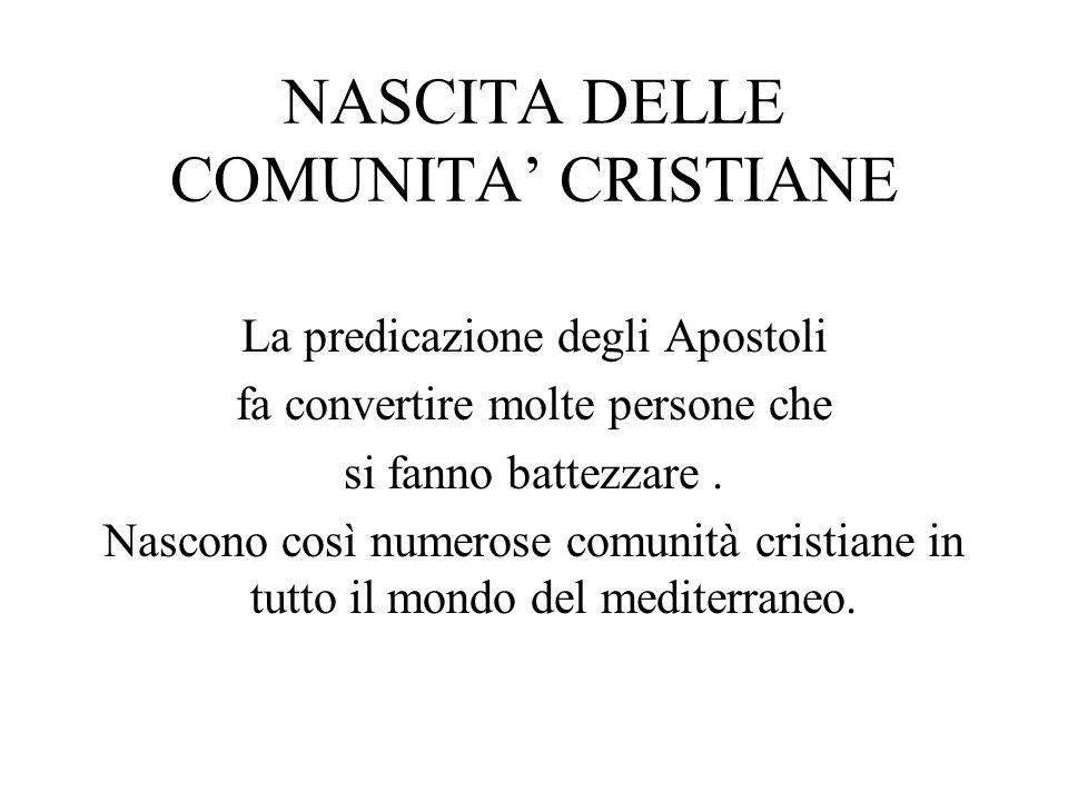 NASCITA DELLE COMUNITA' CRISTIANE