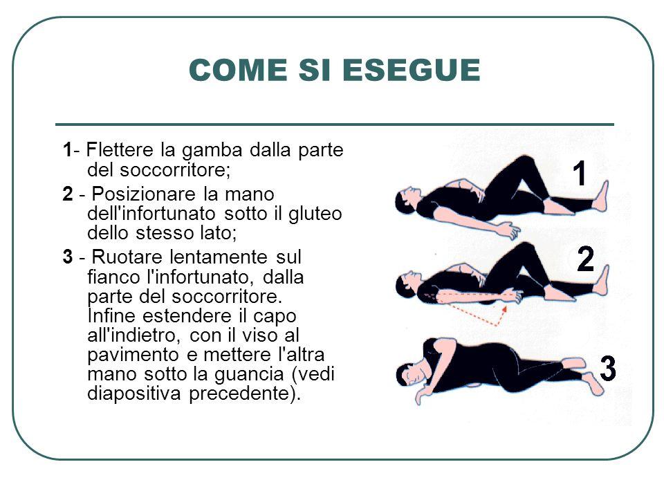 COME SI ESEGUE 1- Flettere la gamba dalla parte del soccorritore;