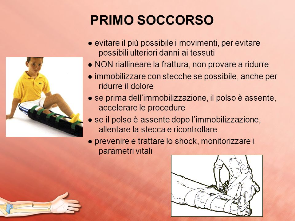 PRIMO SOCCORSO ● evitare il più possibile i movimenti, per evitare possibili ulteriori danni ai tessuti.