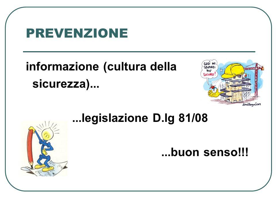 PREVENZIONE informazione (cultura della sicurezza)... ...legislazione D.lg 81/08 ...buon senso!!!