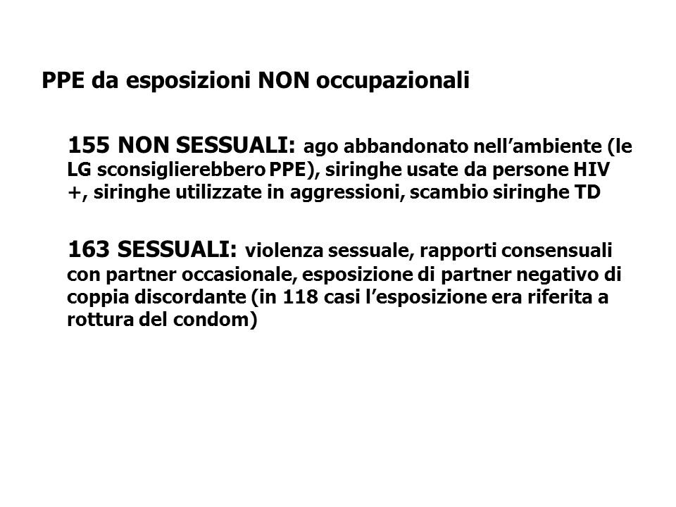 PPE da esposizioni NON occupazionali