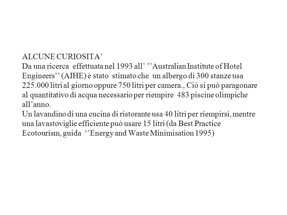 ALCUNE CURIOSITA' Da una ricerca effettuata nel 1993 all' ''Australian Institute of Hotel Engineers'' (AIHE) è stato stimato che un albergo di 300 stanze usa 225.000 litri al giorno oppure 750 litri per camera., Ciò si può paragonare al quantitativo di acqua necessario per riempire 483 piscine olimpiche all'anno.