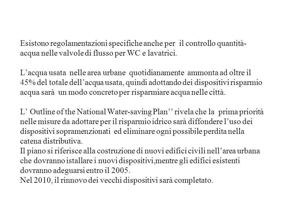 Esistono regolamentazioni specifiche anche per il controllo quantità- acqua nelle valvole di flusso per WC e lavatrici.