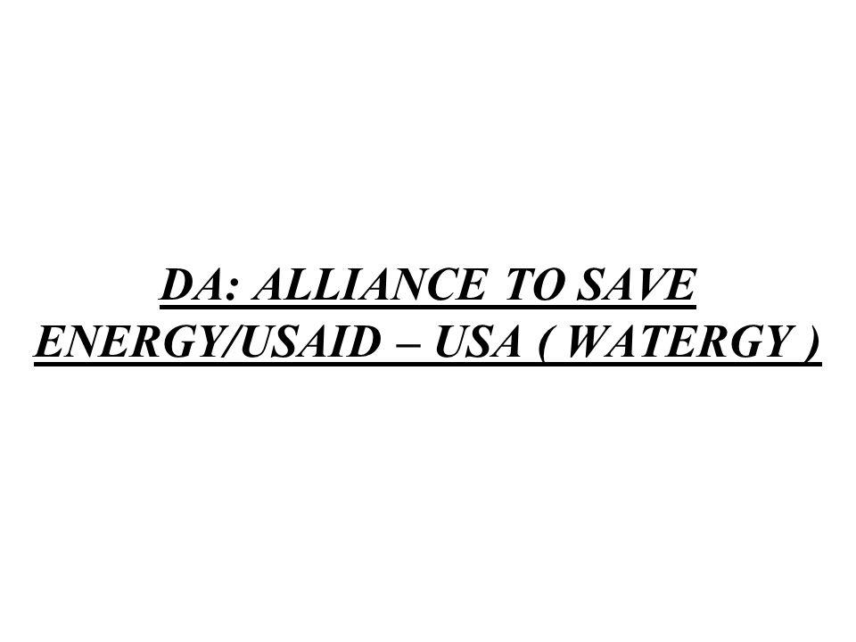 DA: ALLIANCE TO SAVE ENERGY/USAID – USA ( WATERGY )