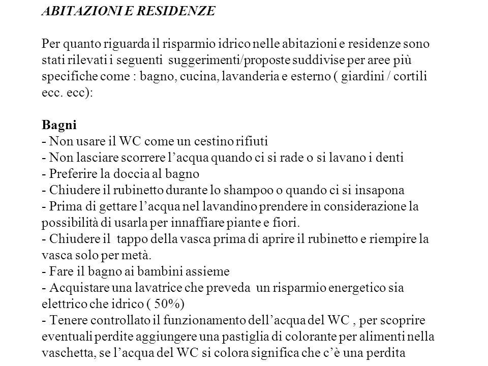 ABITAZIONI E RESIDENZE Per quanto riguarda il risparmio idrico nelle abitazioni e residenze sono stati rilevati i seguenti suggerimenti/proposte suddivise per aree più specifiche come : bagno, cucina, lavanderia e esterno ( giardini / cortili ecc.