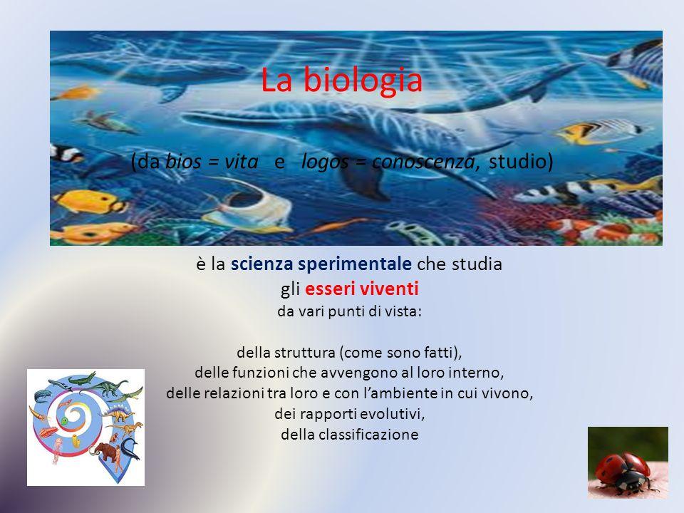 La biologia (da bios = vita e logos = conoscenza, studio)