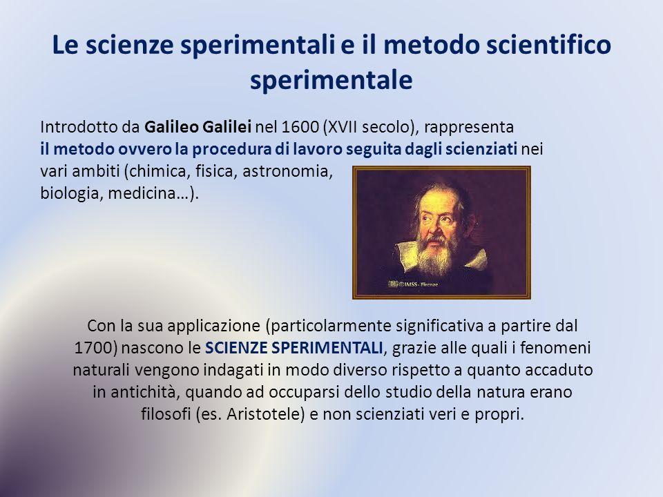 Le scienze sperimentali e il metodo scientifico sperimentale