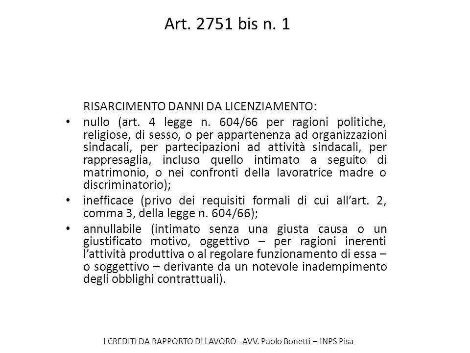 Art. 2751 bis n. 1 RISARCIMENTO DANNI DA LICENZIAMENTO: