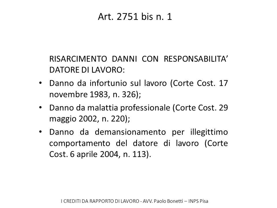 Art. 2751 bis n. 1 RISARCIMENTO DANNI CON RESPONSABILITA' DATORE DI LAVORO: Danno da infortunio sul lavoro (Corte Cost. 17 novembre 1983, n. 326);