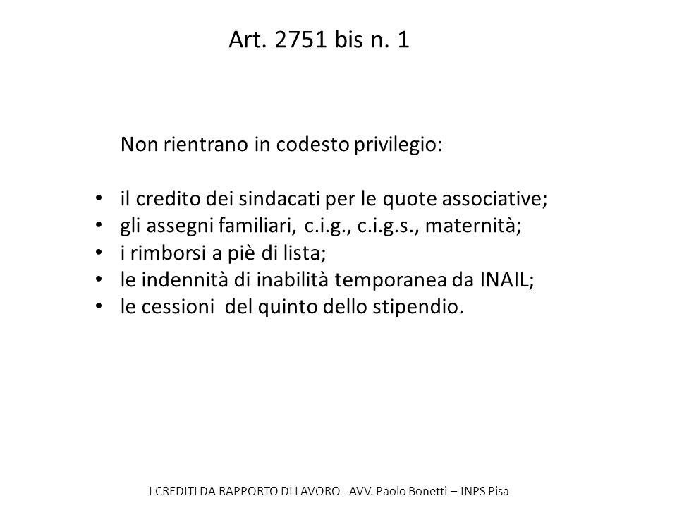Art. 2751 bis n. 1 Non rientrano in codesto privilegio: