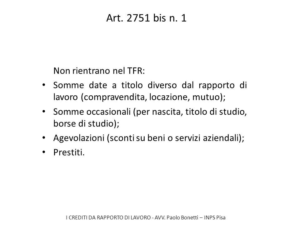 Art. 2751 bis n. 1 Non rientrano nel TFR: