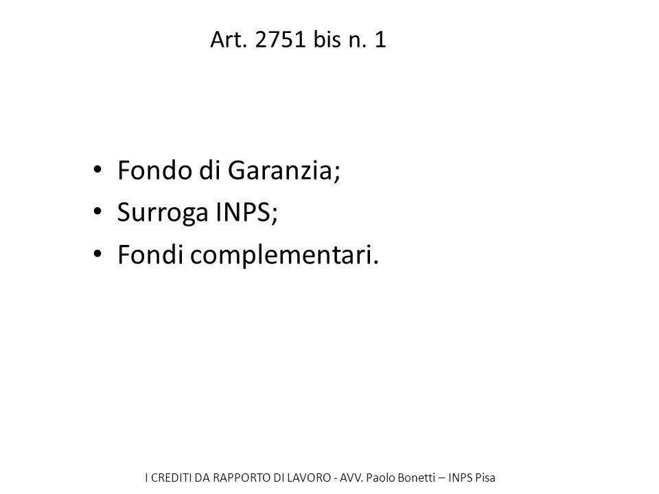 Fondo di Garanzia; Surroga INPS; Fondi complementari.