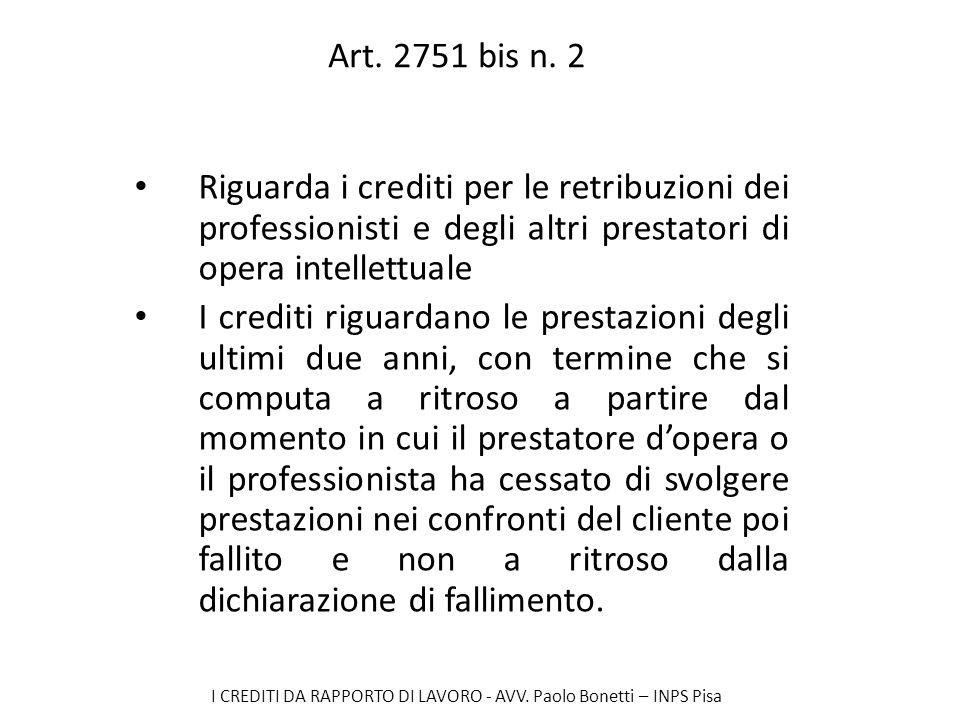 Art. 2751 bis n. 2 Riguarda i crediti per le retribuzioni dei professionisti e degli altri prestatori di opera intellettuale.