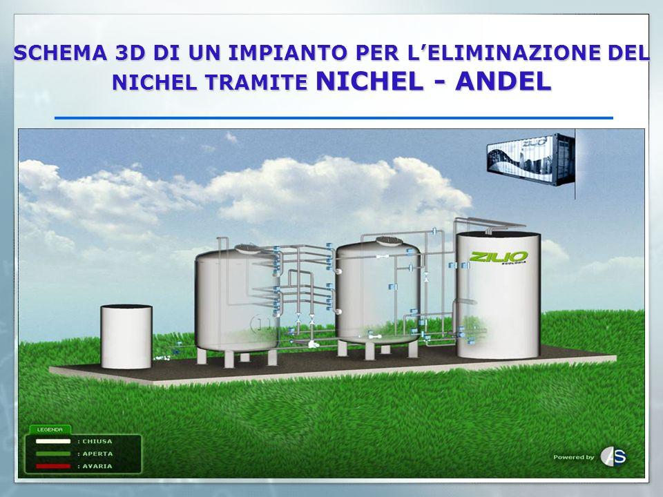 SCHEMA 3D DI UN IMPIANTO PER L'ELIMINAZIONE DEL NICHEL TRAMITE NICHEL - ANDEL