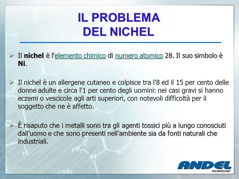 IL PROBLEMA DEL NICHEL. Il nichel è l elemento chimico di numero atomico 28. Il suo simbolo è Ni.