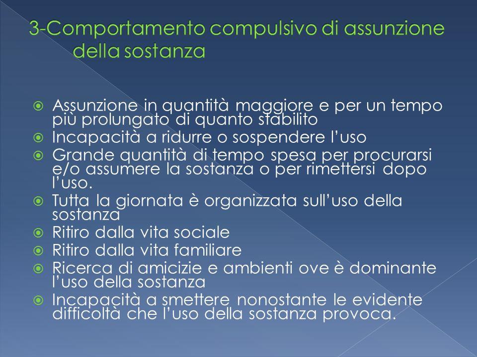 3-Comportamento compulsivo di assunzione della sostanza