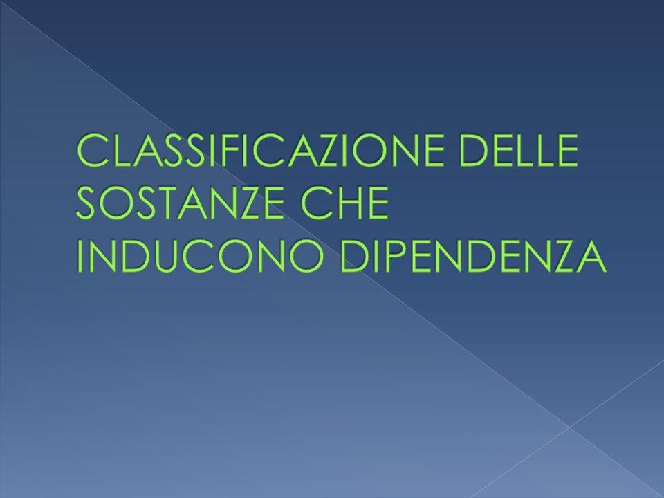 CLASSIFICAZIONE DELLE SOSTANZE CHE INDUCONO DIPENDENZA