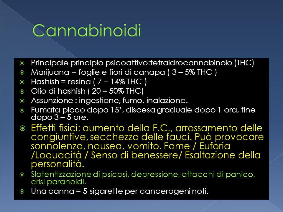Cannabinoidi Principale principio psicoattivo:tetraidrocannabinolo (THC) Marijuana = foglie e fiori di canapa ( 3 – 5% THC )