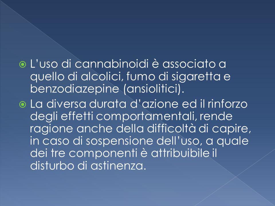 L'uso di cannabinoidi è associato a quello di alcolici, fumo di sigaretta e benzodiazepine (ansiolitici).