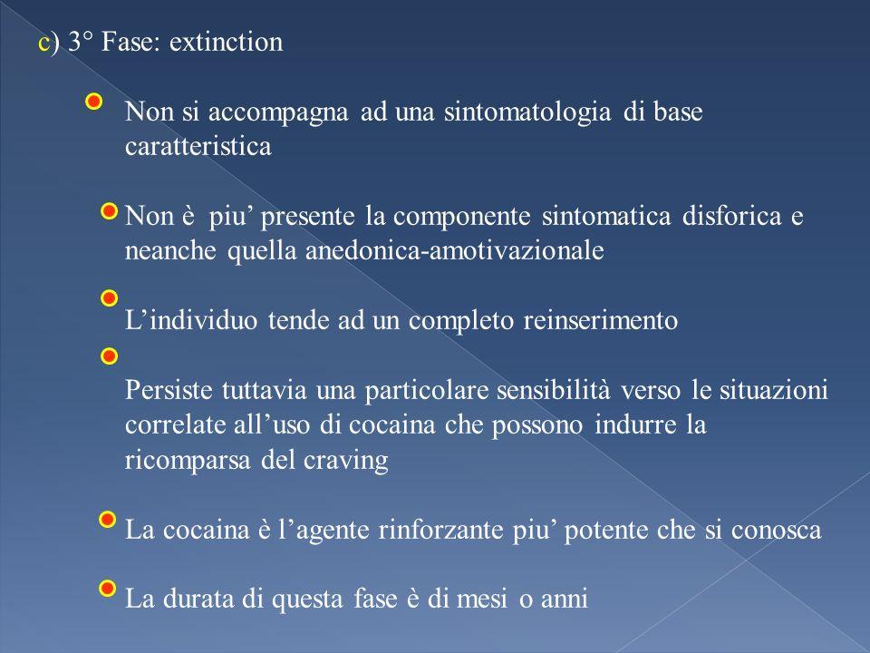 c) 3° Fase: extinction Non si accompagna ad una sintomatologia di base caratteristica.