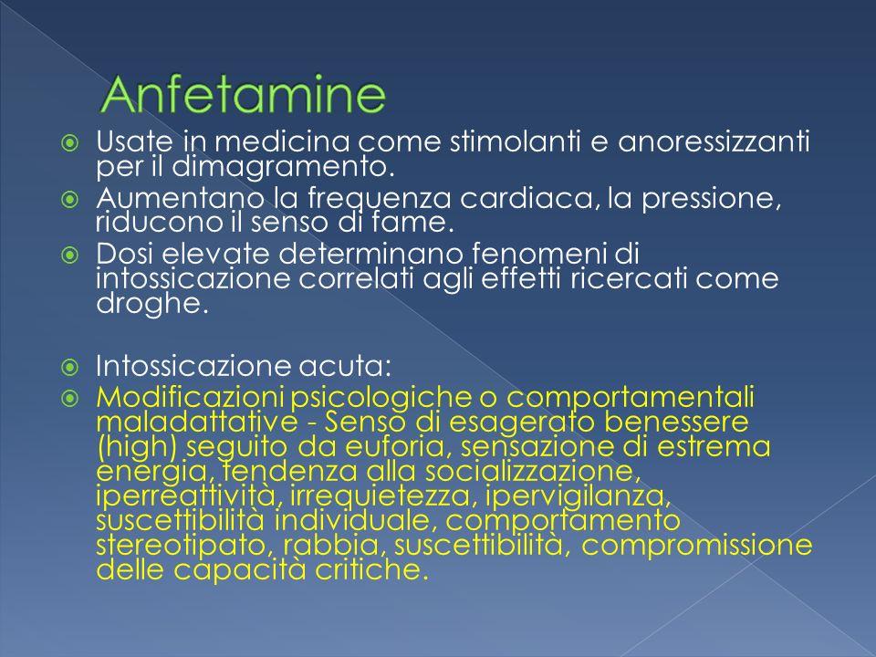 Anfetamine Usate in medicina come stimolanti e anoressizzanti per il dimagramento.